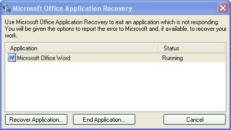 not responding,recovery word,bi loi quen khong luu word