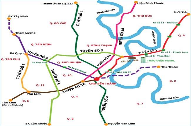 Sơ đồ quy hoạch các tuyến metro tại TPHCM