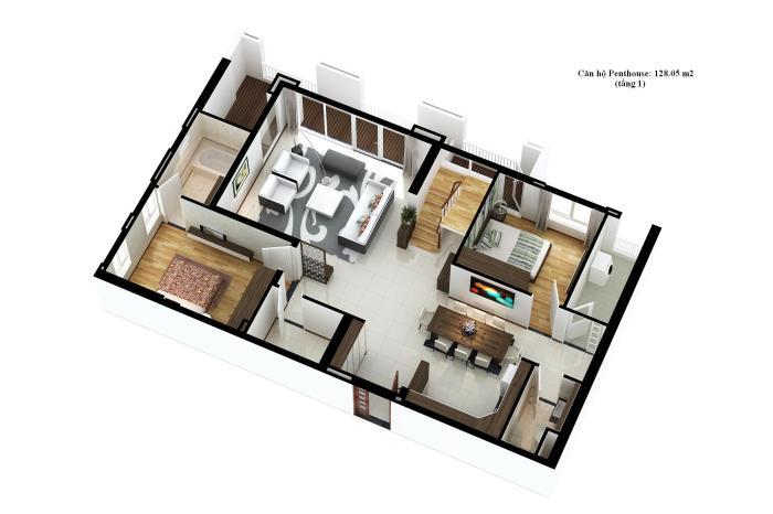Dien tich can ho penthouse tang 1 topaz garden 128.05m2