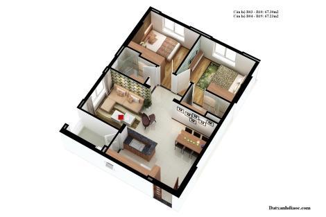 Dien tich can ho topaz garden 67.30 m2
