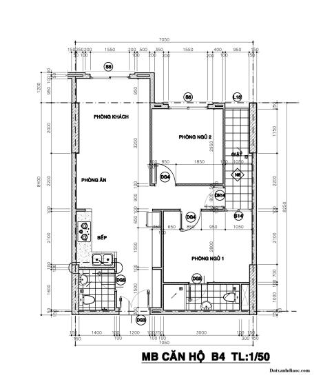 Kích thước mặt bằng căn hộ topaz garden 61.78m2