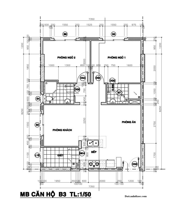 Kích thước mặt bằng căn hộ topaz garden 67.30m2