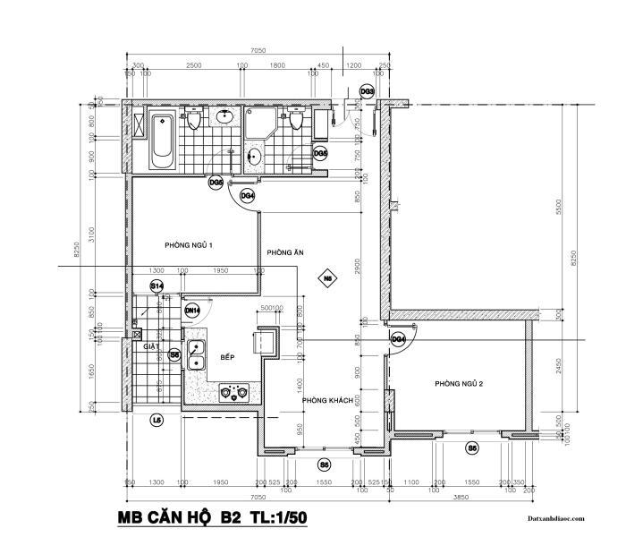 Kích thước mặt bằng căn hộ topaz garden 72.17m2