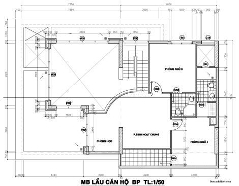 Kích thước mặt bằng căn hộ penthouse topaz garden tầng 2 70.81m2