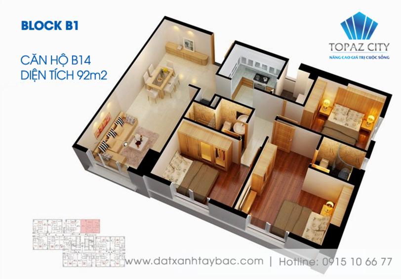 Thiết kế căn hộ Topaz city B14