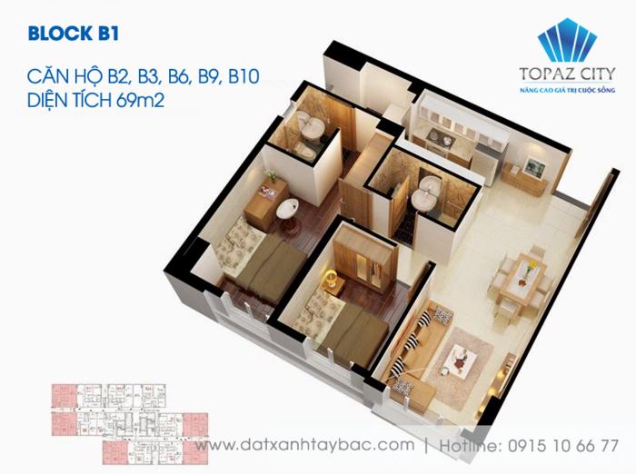 Thiết kế căn hộ Topaz city B2