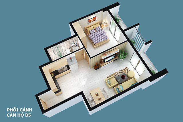 Thiết kế căn hộ full house 61m2