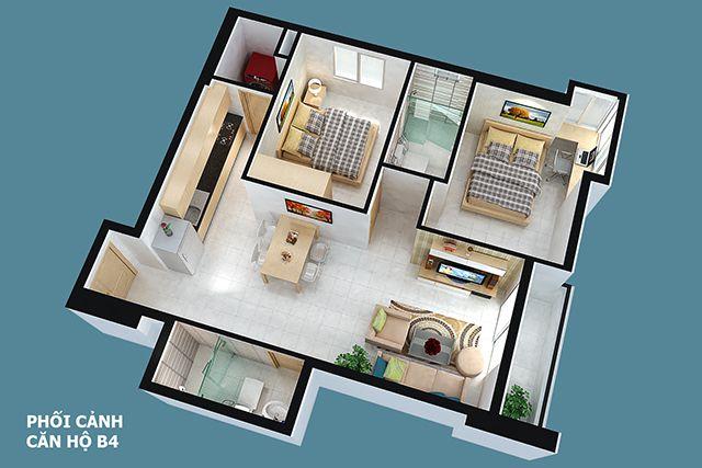 Thiết kế căn hộ full house 75m2
