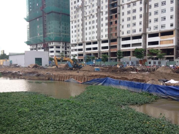 Tiến độ sunview town-Sông trước dự án đang kè