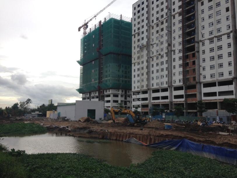 Tiến độ sunview town-đang kè bờ sông trước dự án