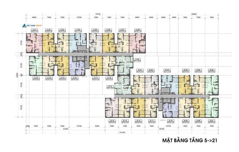 Mặt bằng thiết kế căn hộ Auris city quận 8