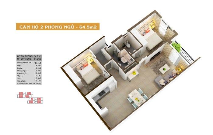 Thiết kế căn hộ Auris City - 2B
