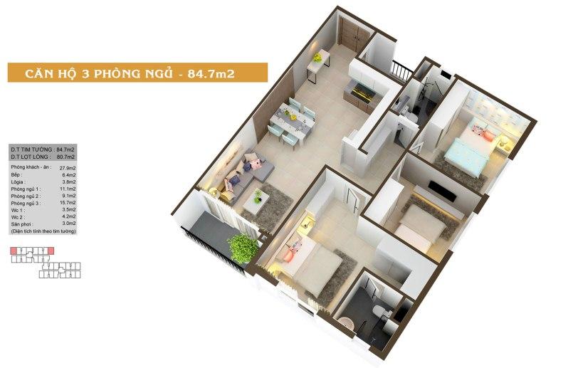 Thiết kế căn hộ Auris city 3B;