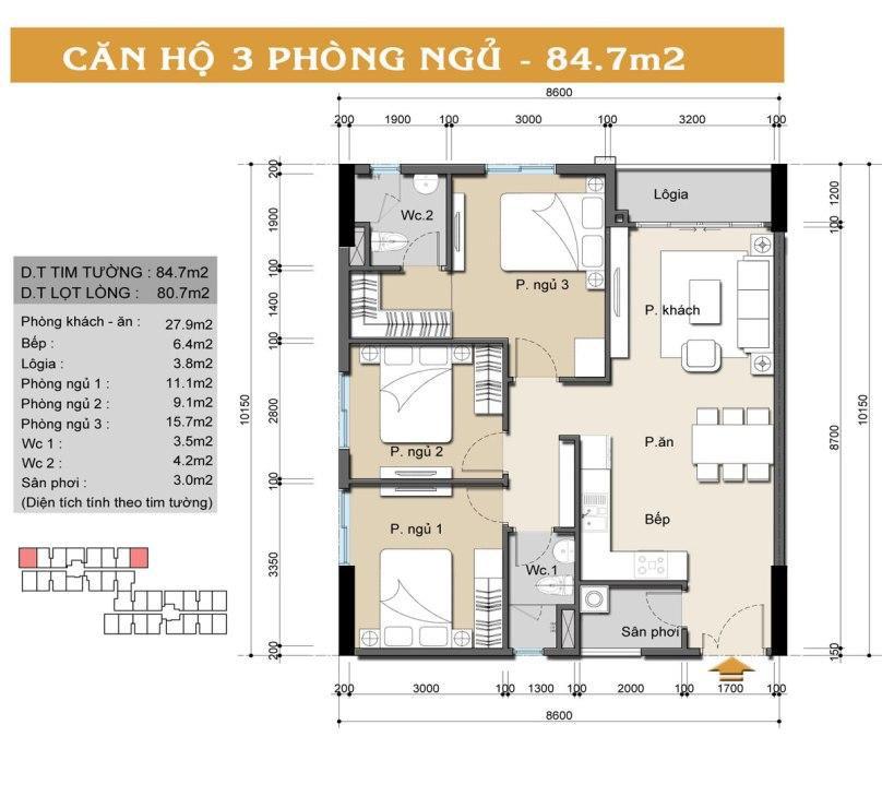 Mặt bằng căn hộ Auris City loại A-B;