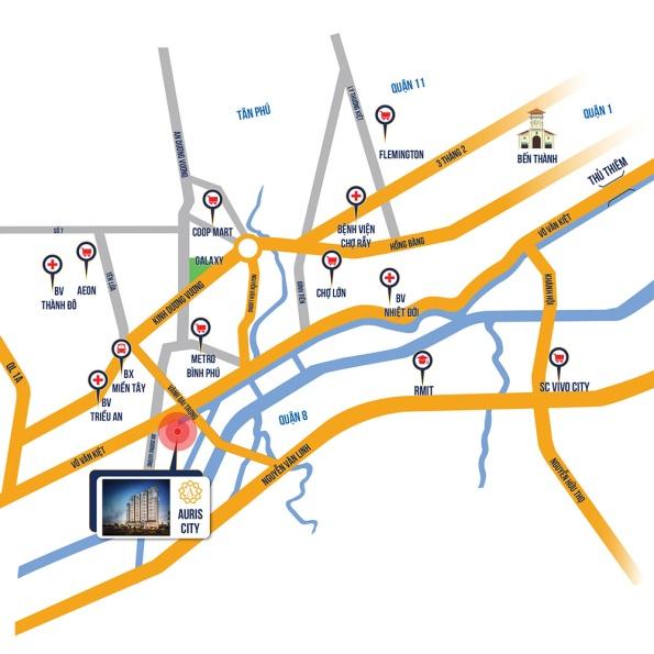 Vị trí căn hộ Auris city Quận 8