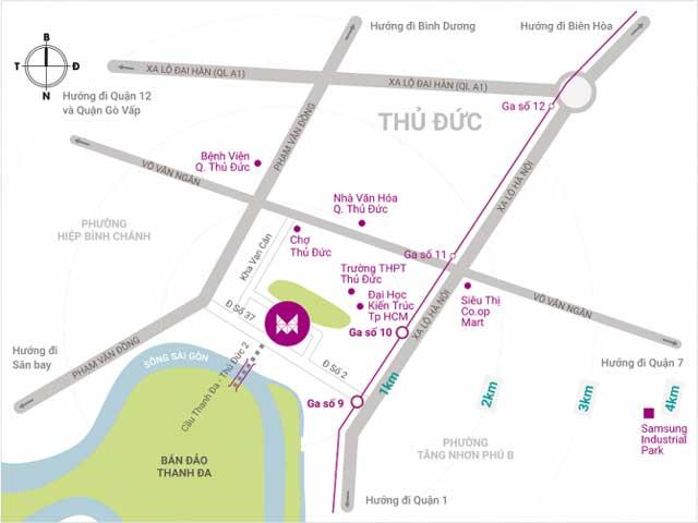 Vị trí căn hộ Saigon Metro Park Thủ Đức