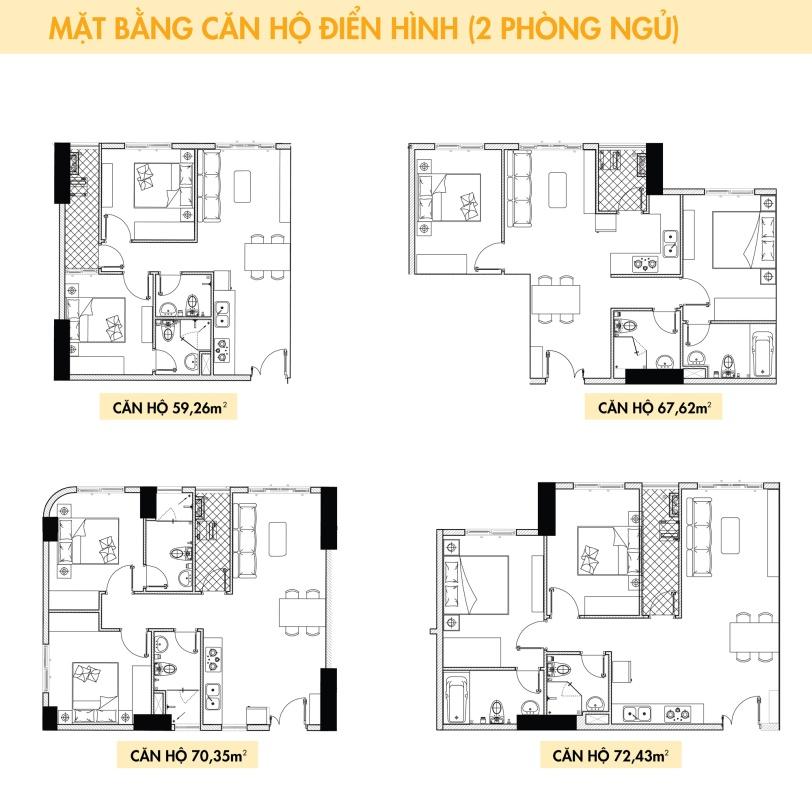 Thiết kế căn hộ Topaz Elite loại 2 phòng ngủ;