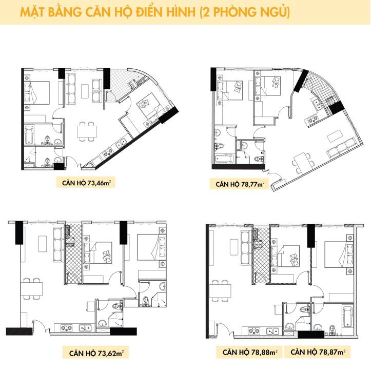 Thiết kế căn hộ Topaz Elite loại 2 phòng ngủ