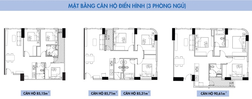 Thiết kế căn hộ Topaz Elite loại 3 phòng ngủ
