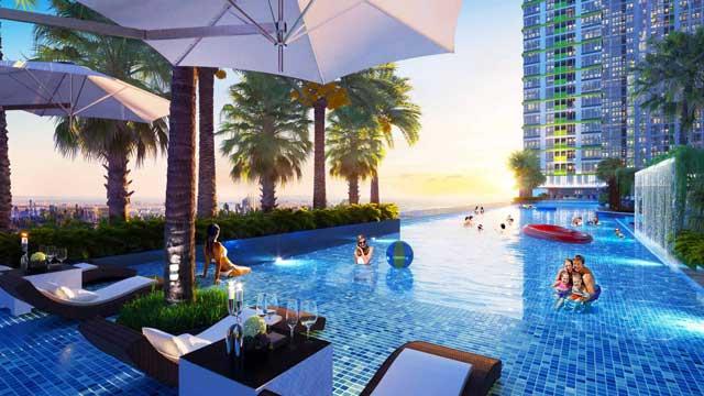 Hồ bơi tràn bờ Elite Pool hơn 600 m2 tại tầng mái
