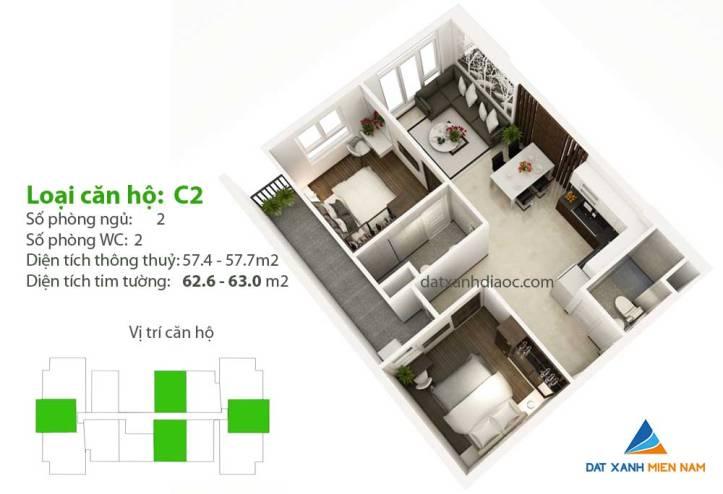 Căn hộ Saigon Riverside City - Thiết kế loại C1Căn hộ Saigon Riverside City - Thiết kế loại C2