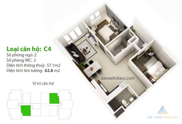 Căn hộ Saigon Riverside City - Thiết kế loại C4