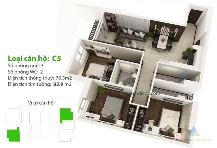 Căn hộ Saigon Riverside City - Thiết kế loại C5