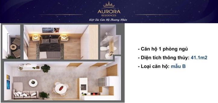 Phối cảnh 3D căn hộ Aurora Residence loại 41m2