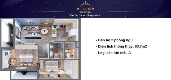 Phối cảnh 3D căn hộ Aurora Residence loại 65m2