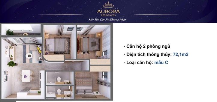 Phối cảnh 3D căn hộ Aurora Residence loại 72m2;