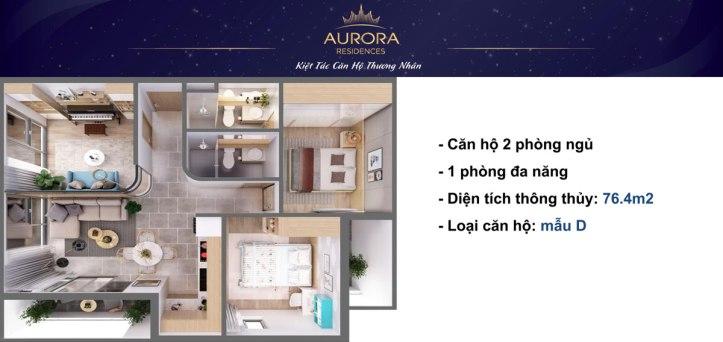 Phối cảnh 3D căn hộ Aurora Residence loại 76m2;