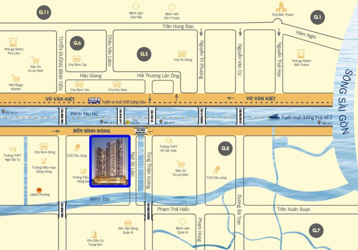 Vị trí căn hộ Aurora Riverside Quận 8