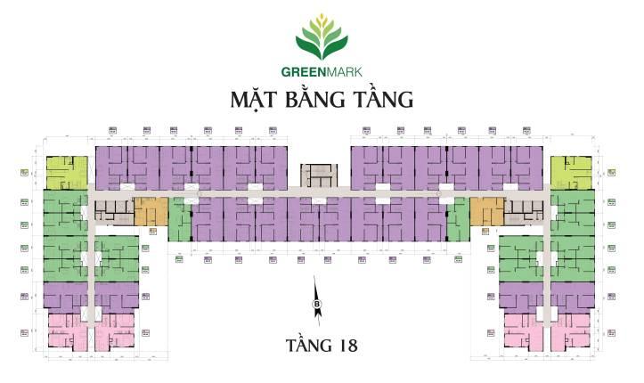 Mặt bằng tầng căn hộ Green Mark Quận 12 - Tầng 18 full
